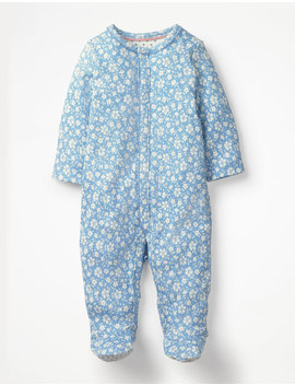 pretty-printed-sleepsuit---light-sky-blue-vintage-floral by boden