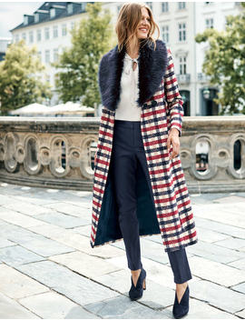 Burley Coat   Navy And Wine Check by Boden
