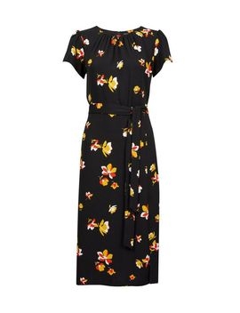 Black Floral Print Tie Detail Midi Skater Dress by Dorothy Perkins