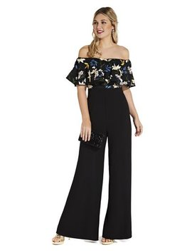 Off The Shoulder Jumpsuit With Sequin Floral Embroidery by Adrianna Papell