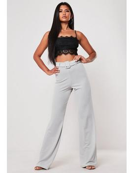 Gray Crepe Stretch Belted Wide Leg Trousers by Missguided