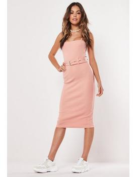 Petite Pink Strappy Belted Ribbed Midi Dress by Missguided