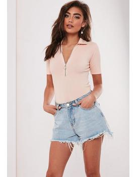 Nude Zip Up Polo Bodysuit by Missguided