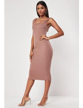 Nude Square Neck Raw Edge Ribbed Midaxi Dress by Missguided