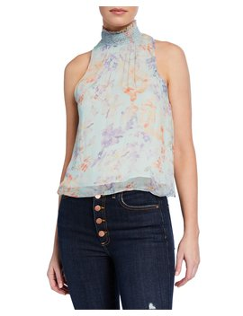 annmarie-floral-print-smocked-turtleneck-tank-top by alice-+-olivia