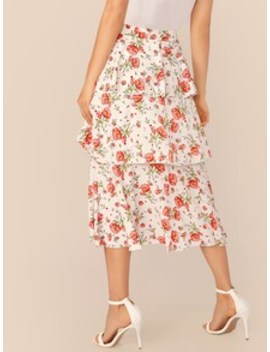 wide-waistband-tiered-layer-floral-print-skirt by shein
