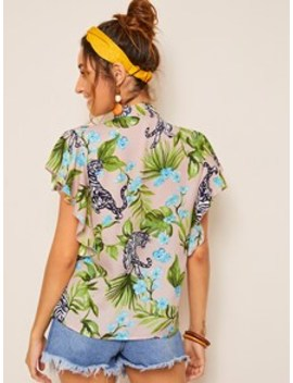 tropical-&-tiger-print-tie-neck-top by shein