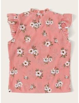frilled-neckline-striped-&-flower-print-top by shein