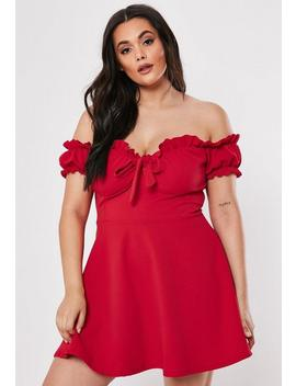 Plus Size Red Milkmaid Skater Dress by Missguided