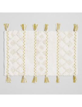 Ivory And Cress Green Braided Stripes Bath Mat by World Market
