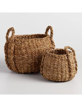 Natural Seagrass Round Jade Tote Baskets by World Market