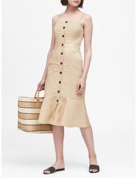Petite Linen Blend Button Front Dress by Banana Repbulic