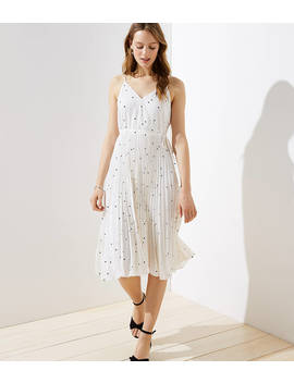Petite Dotted Pleated Wrap Midi Dress by Loft