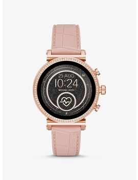 Sofie Heart Rate Rose Gold Tone And Embossed Silicone Smartwatch by Michael Kors Access