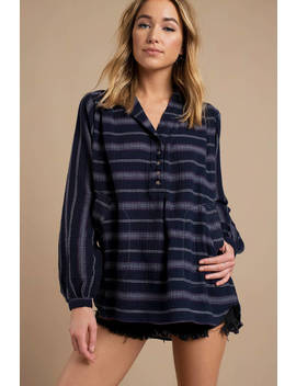 Free People Rolling Clouds Navy Pullover Tunic by Tobi
