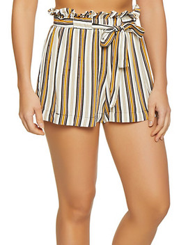 Striped Tie Paper Bag Waist Shorts by Rainbow