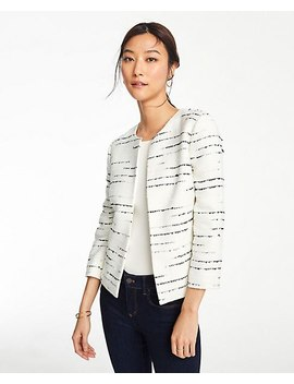 Petite Striped Tweed Open Jacket by Ann Taylor