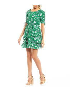 Ruched Sleeve Floral Print Dress by Xtraordinary