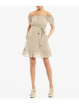 Off The Shoulder Striped Flounce Hem Dress by Xtraordinary