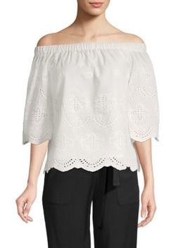 Eyelet Off The Shoulder Cotton Top by Saks Fifth Avenue