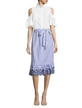 Stripe Eyelet Midi Skirt by Draper James