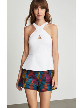 crisscross-cutout-peplum-top by bcbgmaxazria