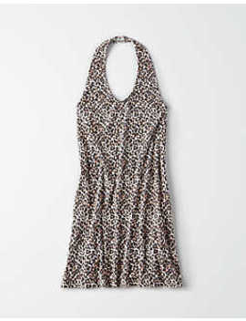 Ae Knitted Leopard Print Halter Dress by American Eagle Outfitters