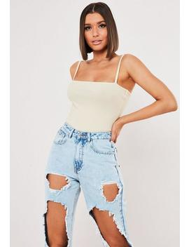 Stone Ribbed Straight Neck Bodysuit by Missguided