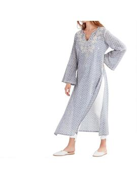 Blue And White Embroidered Dimple Long Tunic by World Market