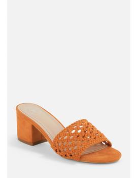 orange-raffia-mid-heel-mules by missguided