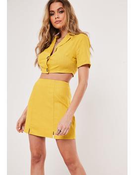 Yellow Co Ord Linen Split Hem Mini Skirt by Missguided