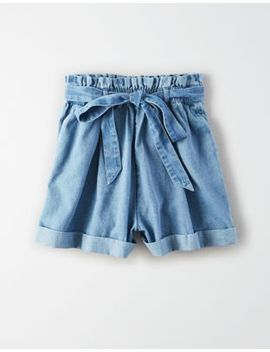 Ae High Waisted Denim Paperbag Short by American Eagle Outfitters