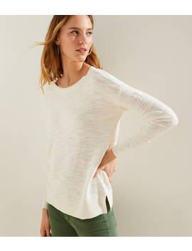 Textured Stripe Drop Shoulder Sweater by Loft