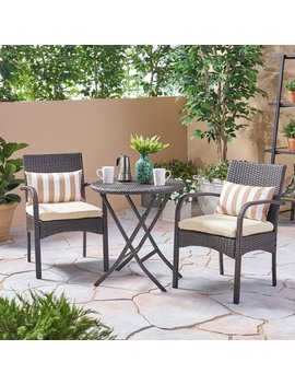 Hayden Outdoor 3 Piece Wicker Foldable Bistro Set By Christopher Knight Home by Christopher Knight Home