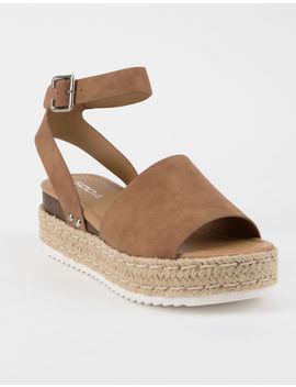 Soda Topic Tan Womens Espadrille Flatform Sandals by Soda