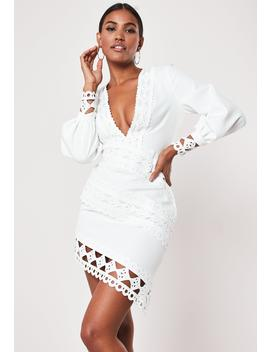 white-crochet-lace-plunge-mini-dress by missguided