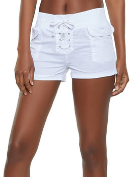 Cuffed Lace Up Shorts by Rainbow