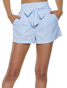 Striped Tie Front Shorts by Rainbow