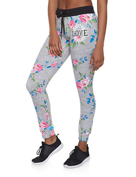 Love Graphic Floral Joggers by Rainbow