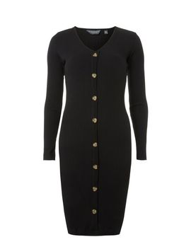 **Tall Black Rib Button Bodycon Dress by Dorothy Perkins