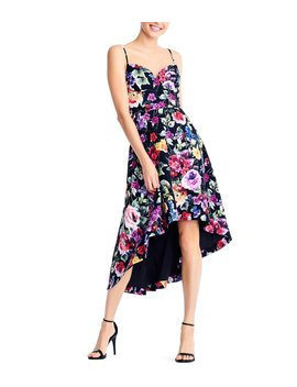 Floral Print Crepe Hi Low Ruffle Hem Dress by Aidan Aidan Mattox