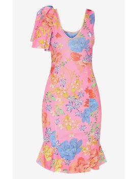 Pink Floral Print Pleat Detail Asymmetric Midi Dress by Prettylittlething