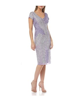 Leaf Soutache V Neck Embroidered Short Sleeve Midi Length Sheath Dress by Js Collections