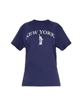Navy City Liberty Print Oversized T Shirt by Prettylittlething
