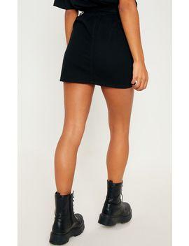Black Paperbag Waist Denim Skirt  by Prettylittlething