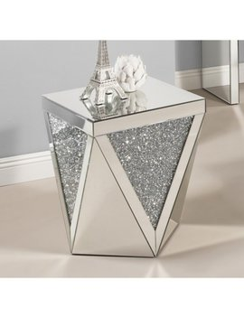 Best Quality Furniture Mirrored End Table With Crystal Accent by Generic