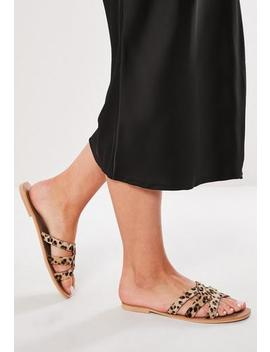 brown-leopard-real-leather-sandals by missguided