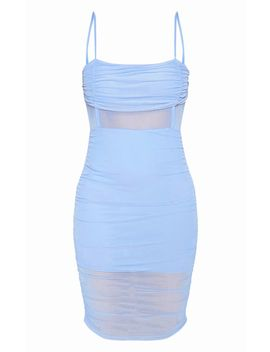 Baby Blue Strappy Mesh Insert Ruched Midi Dress by Prettylittlething