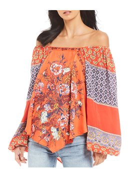 Positano Printed Off The Shoulder Peasant Sleeve Blouse by Free People