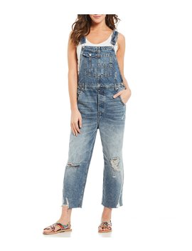 Baggy Denim Distressed Frayed Hem Cropped Overalls by Free People